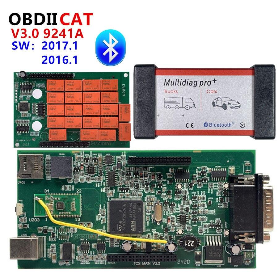 Multidiag-herramienta de diagnóstico de camiones TCS Bluetooth 2017,1 + Keygen OBDIICAT TCS V3.0 NEC 9241A, doble PCB verde OBD2, novedad de 2016,1
