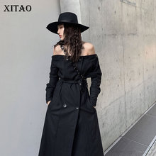 XITAO Black Fashion Sexy Off shoulder Trench Coat for Women Two Styles Long Wind