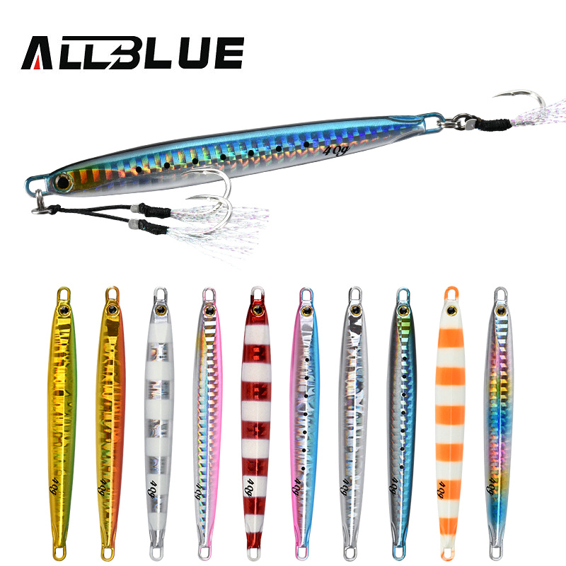 ALLBLUE SLOWER Long Metal Jig Fishing Lure Slow Cast Jigging Spoon 20G 30G 40G 60G Artificial Shore Lead Metal Bait Sea Tackle