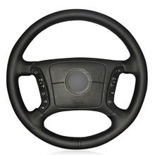 Siyah PU Faux deri DIY araba direksiyon kılıfı BMW E36 1995 2000 E46 1998 2004 E39 1995 2003 X3 E83 X5 E53 2000 2006