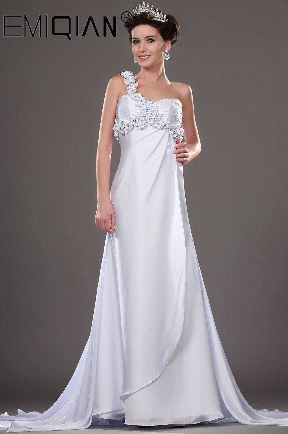 New Designer Custom Size/color Grecian Chiffon One Shoulder Bridal Gown Wedding Dress With Flowers