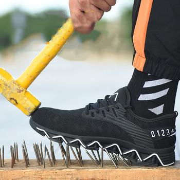 Mężczyźni kobiety buty robocze bhp Kevlar lekkie anty-stab konstrukcja przemysłowa trampki stalowe Toe buty przeciwzmarszczkowe tanie i dobre opinie ROvnsHE Mesh (air mesh) Fabric Płytkie Stałe Dla dorosłych Wiosna jesień Lace-up Med (3 cm-5 cm) Pasuje prawda na wymiar weź swój normalny rozmiar