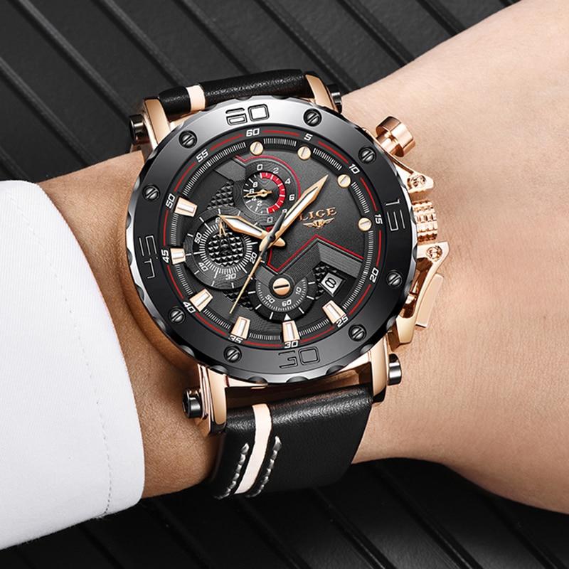 2020LIGE New Fashion Mens Watches Top Brand Luxury Big Dial Military Quartz Watch Leather Waterproof Sport Chronograph Watch Men 5