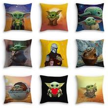 Baby Yoda Cute Pillowcase 45cm Cushion Cover Star Wars Mandalorian Yoda Themed Pillowcases for Home Sofa Printed Pillow Covers