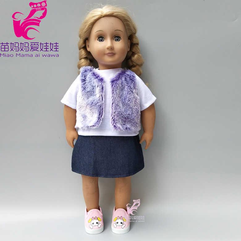 Quần áo búp bê cho 40cm 43cm sinh Em Bé Búp Bê Váy Lông Áo vest 18 inch búp bê Quần áo mùa đông