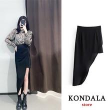 Mujer Faldas Long-Skirt KONDALA Za Women Asymmetrical Vintage High-Waist Fashion Elastic