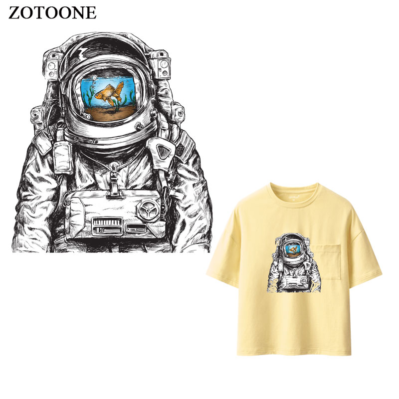 ZOTOONE Iron on Cool Astronaut Patch for Clothing T shirt Heat Transfers Applications Diy Patches for Kids Appliques Stickers E in Patches from Home Garden