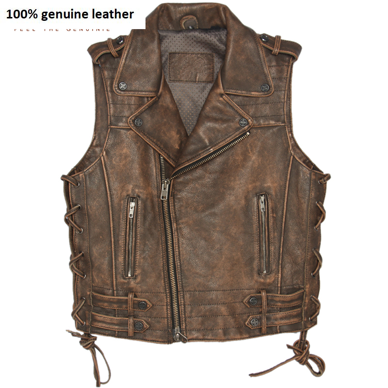 Vintage Brown Thick Motorcycle Leather Vest 100% Genuine Cowhide Men Biker Vest Motor Waistcoat Man Sleeveless Jacket M051