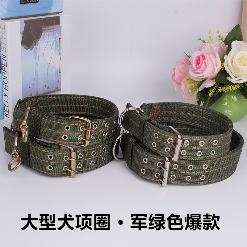 Bulldog Neck Ring And Medium-sized Dog Dog Rope Labrador Anti-Bite Double Breasted Army Green