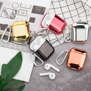 Plating Hard Shell Earphone Case For Apple Airpods Protective Case Luxury Gold Silver Pure Color Cover For Airpods 2nd Hot Sale(China)