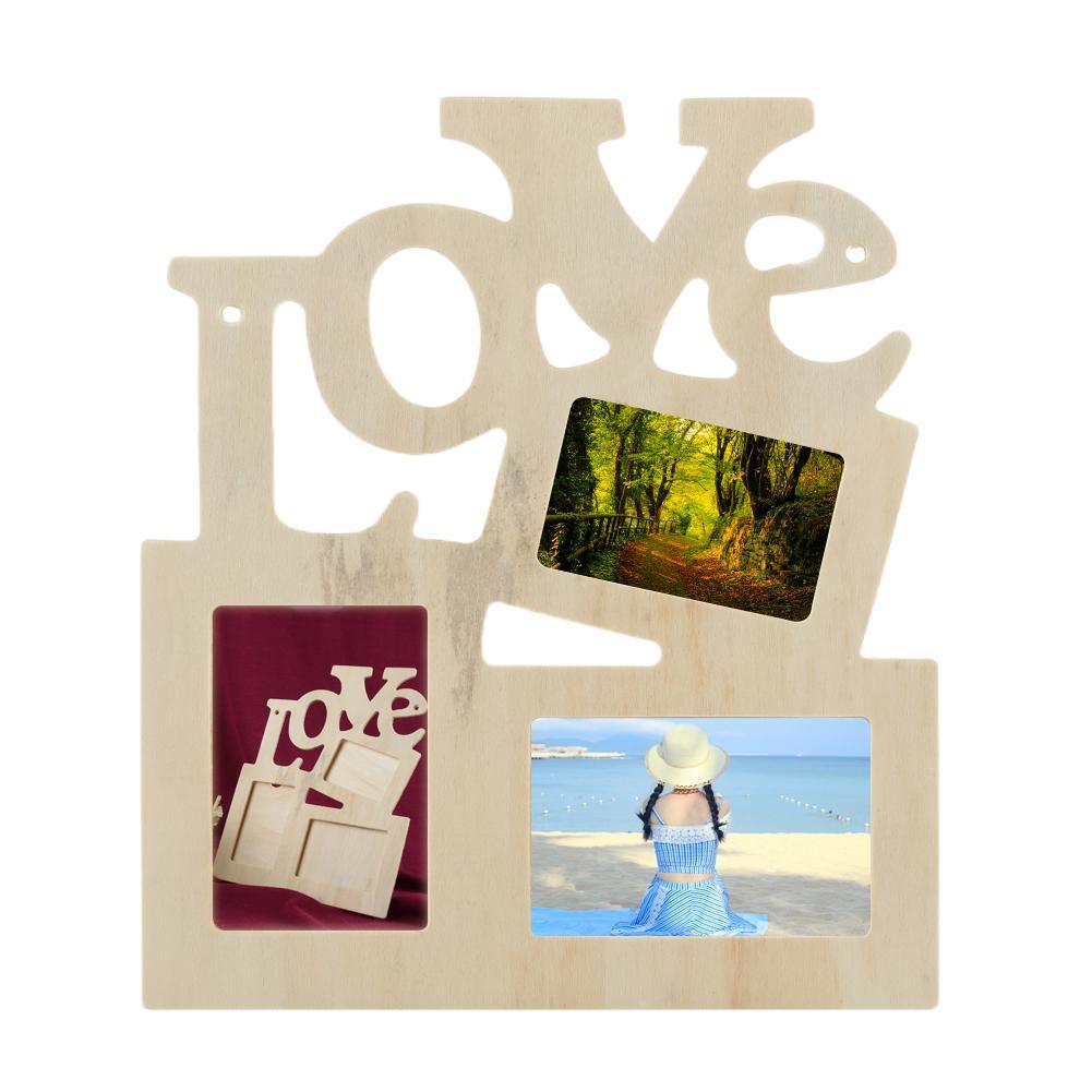 מסגרת תמונה מעץ עם כיתוב באנגלית LOVE ומקום לשלוש תמונות