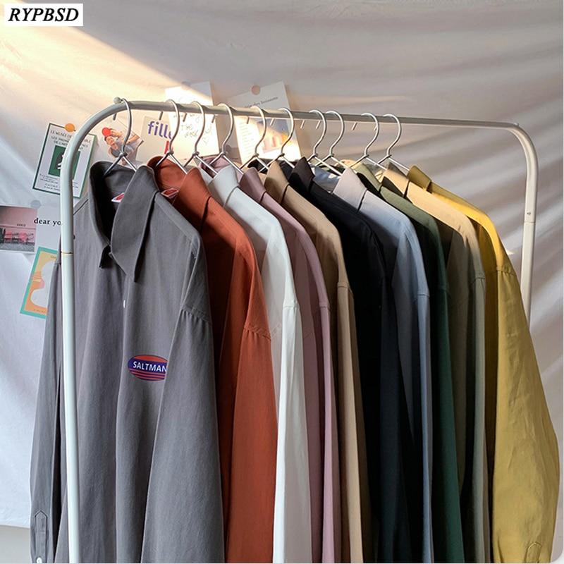 Mens 5XL Shirts Big Sizes Cotton Shirts Harajuku Man Oversized Loose Solid Color Multi-color Fashion Men Blouse Long Sleeve