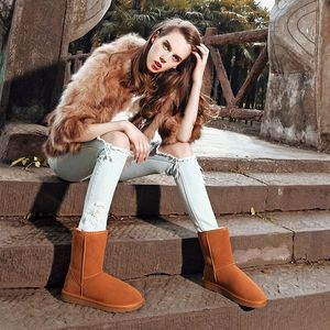 Image 3 - Genuine Leather cowhide Womens Snow Boots 2020 New winter Plush Fur Warm Shoes lady casual winter leather cotton boots 35 40