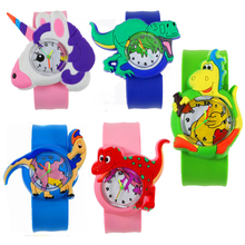 Cartoon Dinosaur Kids Watches Silicone Band Slap Wa