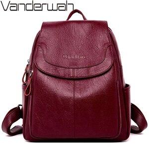 Image 1 - Mochila de cuero para mujer Sac A Dos, mochila de gran calidad para mujer, mochila de diseño de lujo de gran capacidad, mochila informal para niñas