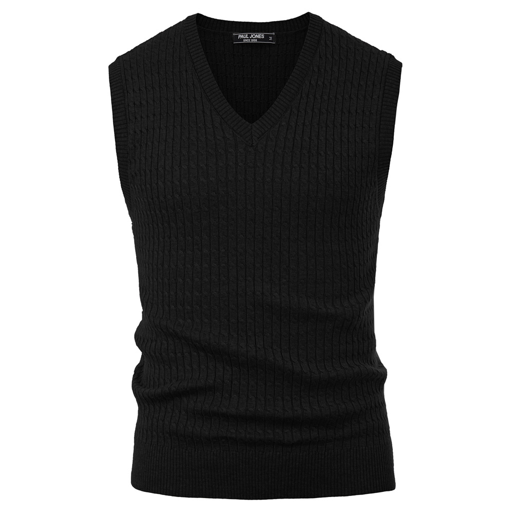 Sweater Vest Men Autumn Winter V-Neck Sweater Casual Knitted Sleeveless Sweater Cable Pattern Pullover Warm Slim Jumper Male