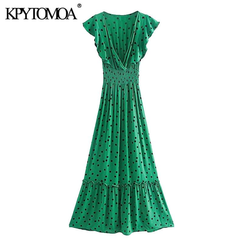 KPYTOMOA Women 2020 Chic Fashion Polka Dot Ruffled Midi Dress Vintage Short Sleeve Elastic Waist Female Dresses Vestidos Mujer