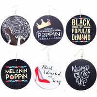SANSHOOR, pendientes negros con estampado de Melanin Poppin, Pendientes colgantes de madera africanos, joyería de regalo para mujeres, 6 pares