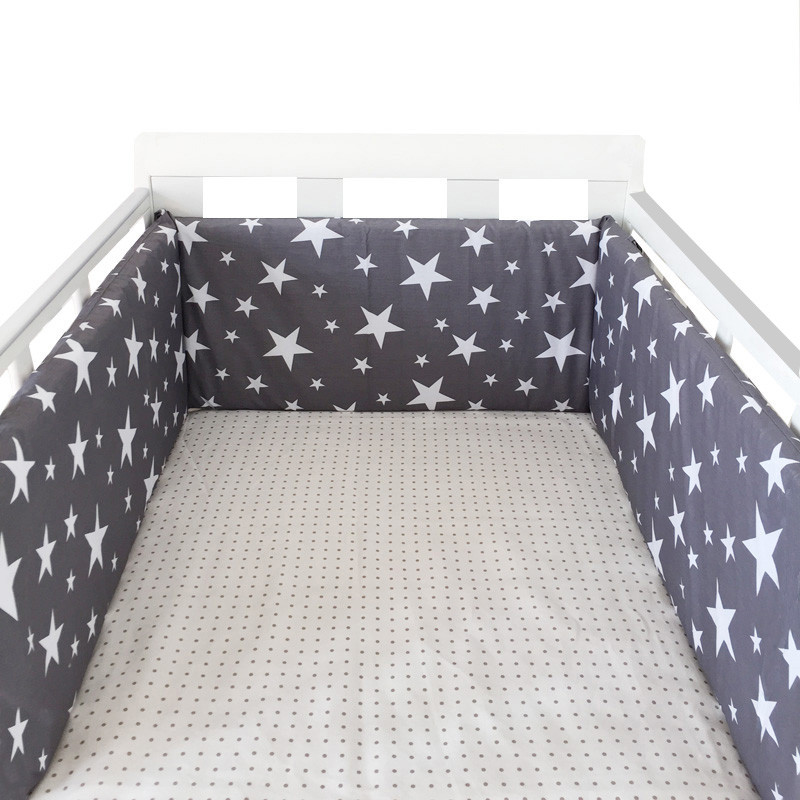 Nordic Stars Design Baby Bed Thicken Bumpers One-piece Crib Around Cushion Cot Protector Pillows Newborns Room Decor