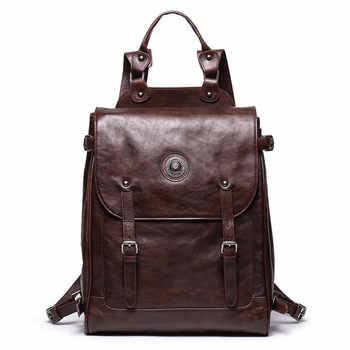 Nesitu Highend Vintage New Large Brown Coffee Genuine Leather 14\'\' 15.6\'\' Laptop Women Men Backpack Female Male Travel Bag M9036 - Category 🛒 Luggage & Bags
