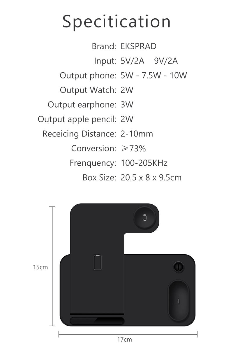 US $24.08 34% OFF Wireless Charger 4 in 1 10W Fast Charging for iPhone 11 11pro XS XR Xs Max 8Plus for Apple Watch 5 4 3 2 Airpods Pro Pencil