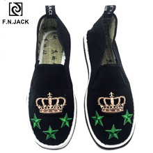 F.N.JACK NEW Arrival Handmade Cotton Fabric Mens Shoes Casual Loafers SPRING/AUTUMN Slip on Flats for Man