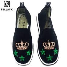 F.N.JACK zapatos informales sin cordones para hombre, mocasines de tela de algodón hechos a mano, para primavera y otoño