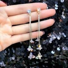 Korean Shiny Butterfly Crystal Drop Earring Bijoux Long Tassel Dangle Earrings for Women Statement Earrings Party Jewelry Gifts