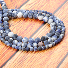Matte Blue Natural Stone Bead Round Loose Spaced Beads 15 Inch Strand 6/8/10mm For Jewelry Making DIY Bracelet