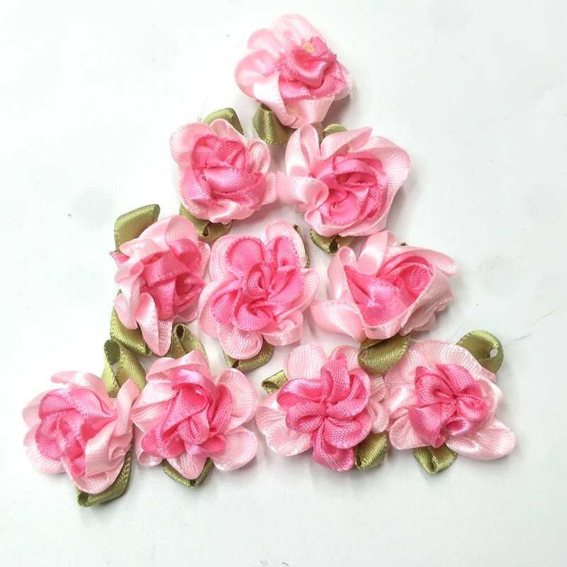 HL 30pcs fita flores com folha handmade flores apliques de costura DIY acessórios de vestuário D0208