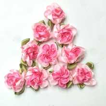 40pcs peach color ribbon flowers with leaf handmade apparel sewing appliques DIY accessories A576