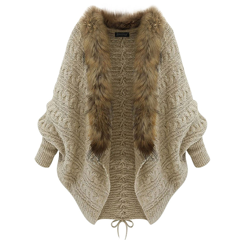 Women's Sweater Women Loose Fur Collar Sweater Batwing Sleeve Knit Sweater Women Fur Collar Coat Women Elegant Cropped
