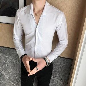 Image 4 - Camisa de alta calidad para hombre, moda sólida 2020, manga larga, esmoquin, vestido ajustado con cuello vuelto, camisas sociales informales 3XL
