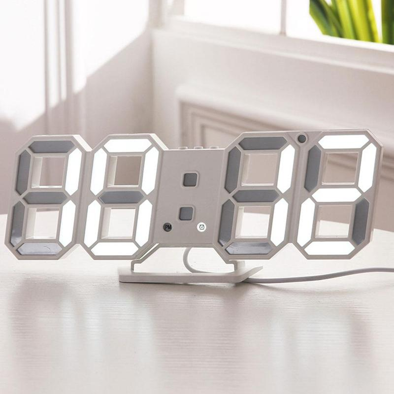 1pc 3D LED Wall Clock Modern Design Digital Table Clock Alarm Nightlight Watch For Living Room Decoration image