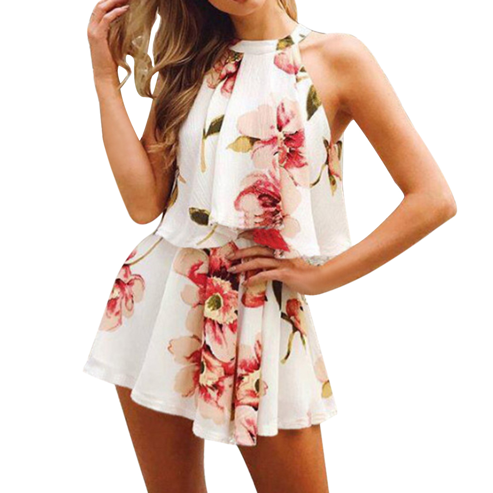 LEH Women Ladies Printed Set 2pcs Sleeveless Halter Ruffle Tops Loose Shorts Sets Women Suits Female Floral Print Playsuit