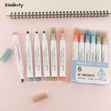 6Pcs/Set Creative Fluorescent Art Marker Pen Candy Color Drawing Graffiti Highlighter Pens for School Office Supplies Stationery delvtch 6pcs set 1 0mm color gel ink pen glitter highlighter fluorescent pen art marker pens painting drawing student staionery