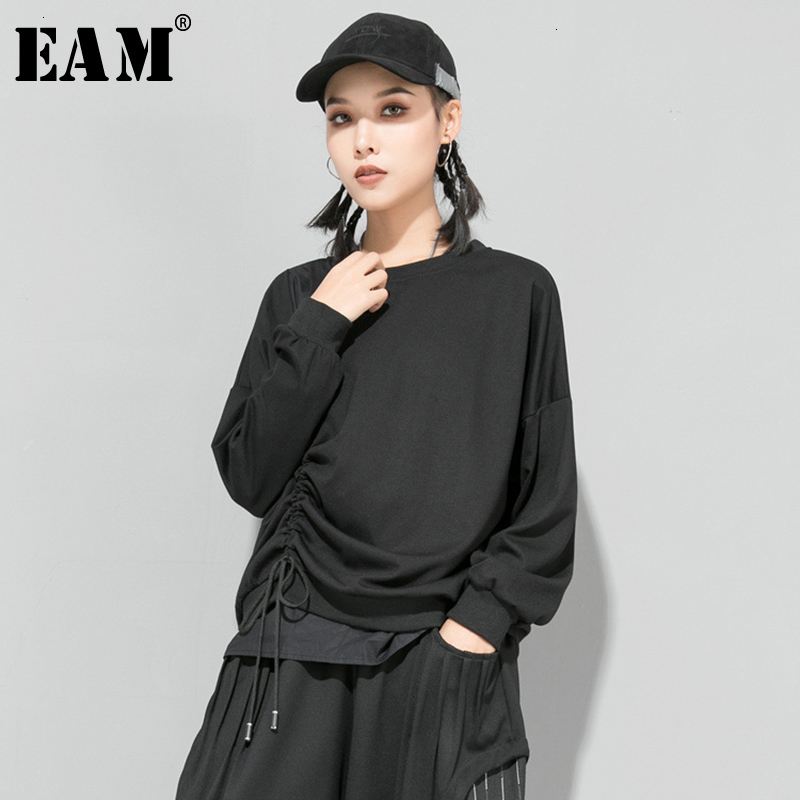 [EAM] Loose Fit Drawstring Asymmetrical Sweatshirt New Round Neck Long Sleeve Women Big Size Fashion Spring Autumn 2020 1D685