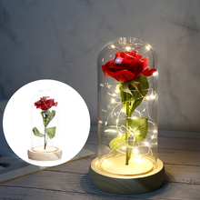 Beauty And The Beast Red Rose Flower With Glass Dome LED Light for Wedding Party Valentine's Day Romantic Gift недорого