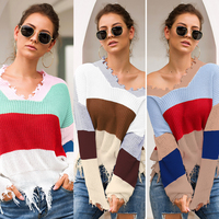 Off Shoulder Rainbow Women Sweater Sexy Fashion V Neck Tassel Wave Striped Pullovers 2019 Long Sleeve Autumn Winter Streetwear