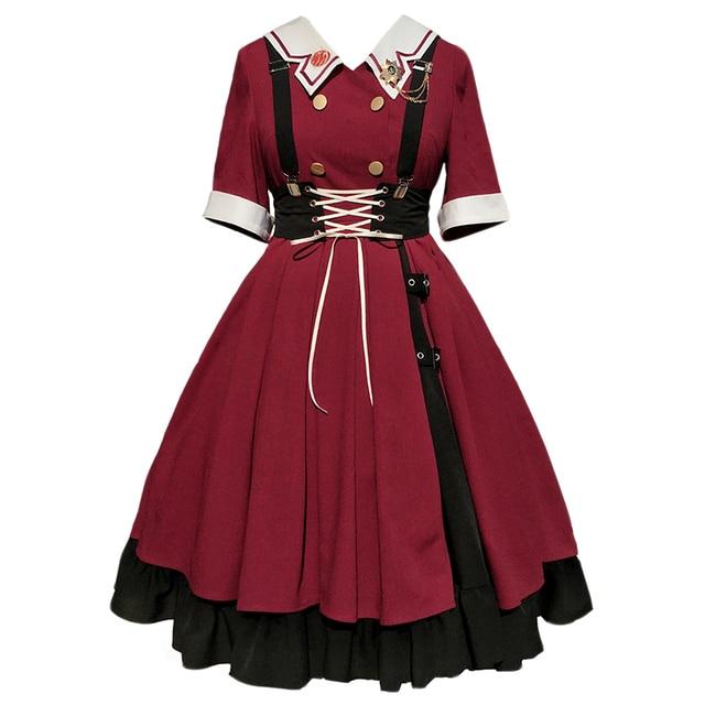 винтажное платье лолиты с v образным вырезом черное платье falbala фотография