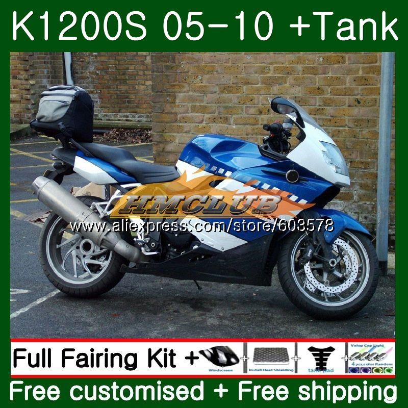 Pour BMW K 1200 S K 1200 S K1200S 05 06 07 08 09 10 Bleu Brillant 38CL. 4 K1200 S K-1200S 2005 2006 2007 2008 2009 2010 Carénage