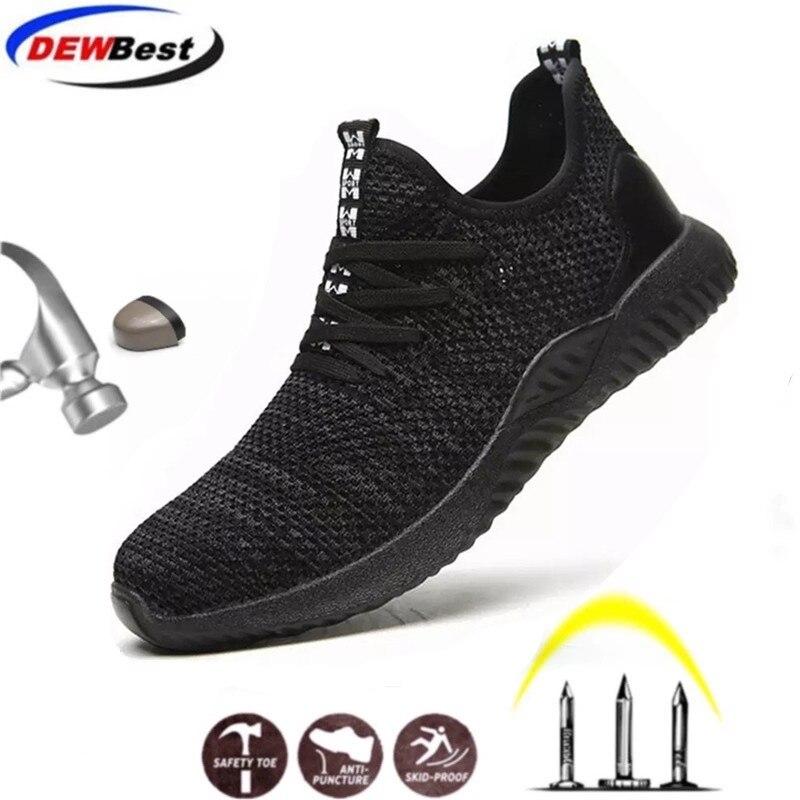 Строительные мужские уличные рабочие ботинки размера плюс со стальным носком; мужские камуфляжные ботинки с защитой от проколов; дышащая обувь - Цвет: safety boots shoes