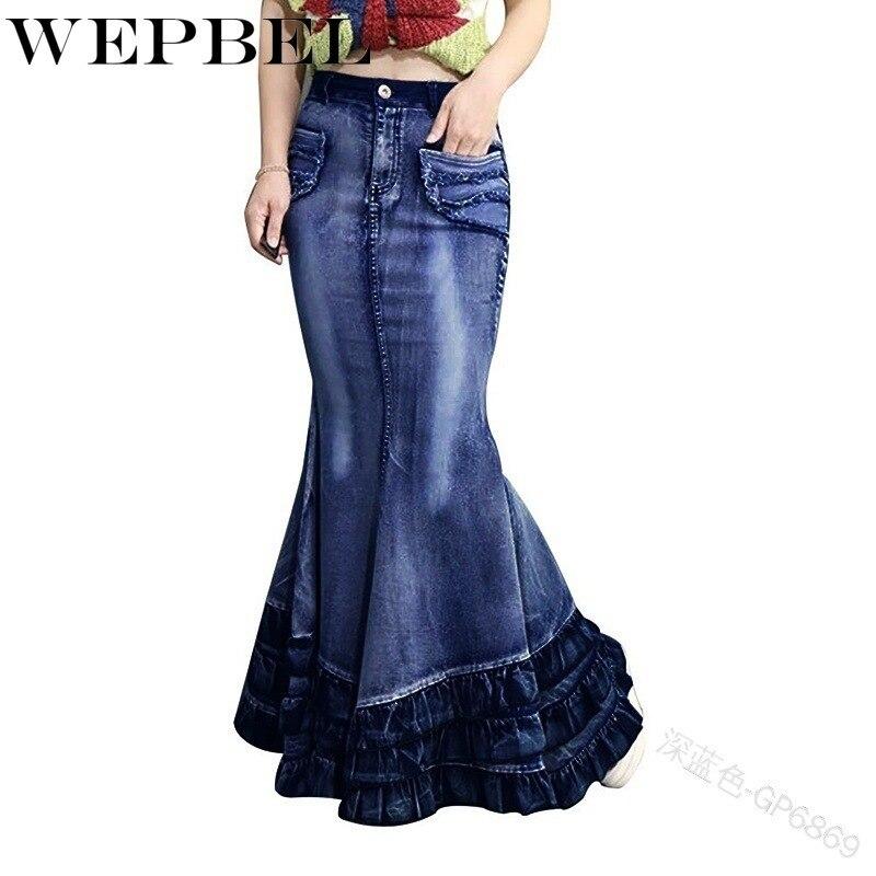 Женская джинсовая юбка-Русалка WEPBEL, длинная облегающая юбка на молнии, Повседневная облегающая юбка с высокой талией