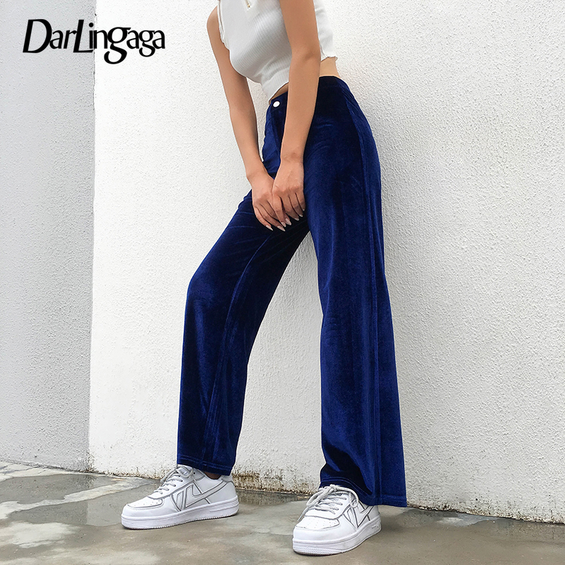Darlingaga Casual Loose Autumn Velour Wide Leg Pants Straight Solid Trousers Women Baggy High Waist Pants Harajuku Capri Bottom