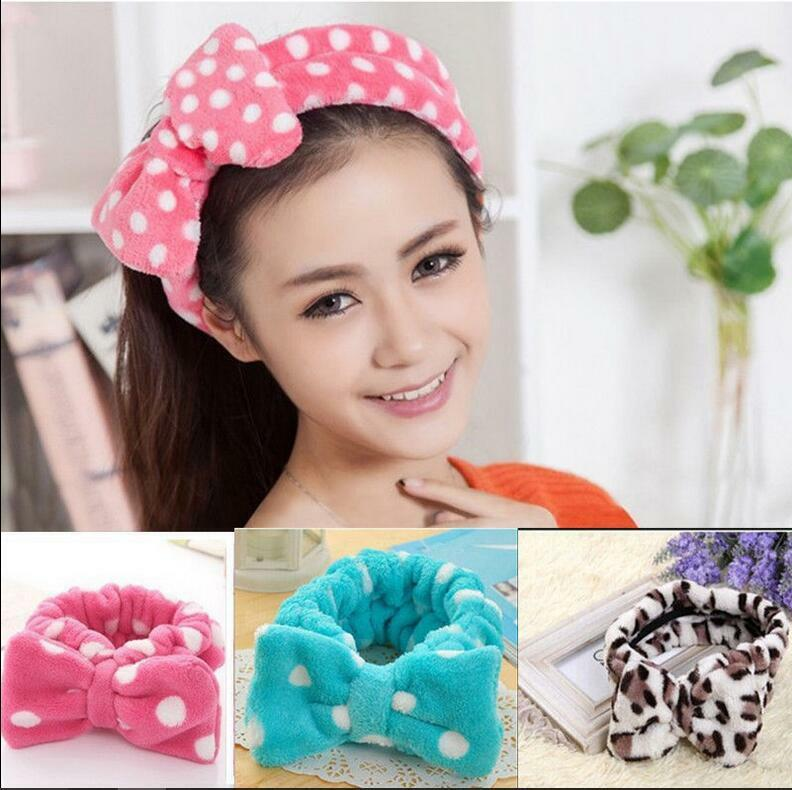 Big Bow Soft Dot Striped Towel Hair Band Wrap Headband For Bath Spa Make Up D
