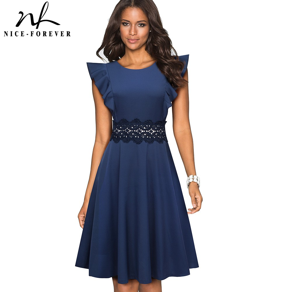 Nice-forever Retro Polka Dots Ruffle Sleeve Vestidos With Lace Party Female Swing Flare Women Dress A175