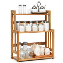 3-Tier Bambus Spice Rack Küche Bad Organizer Robust w/Einstellbare Regal