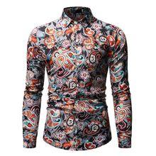 MOGU новые модные рубашки с цветочным принтом Slim Fit Мужские повседневные рубашки с длинными рукавами большие размеры M-3XL