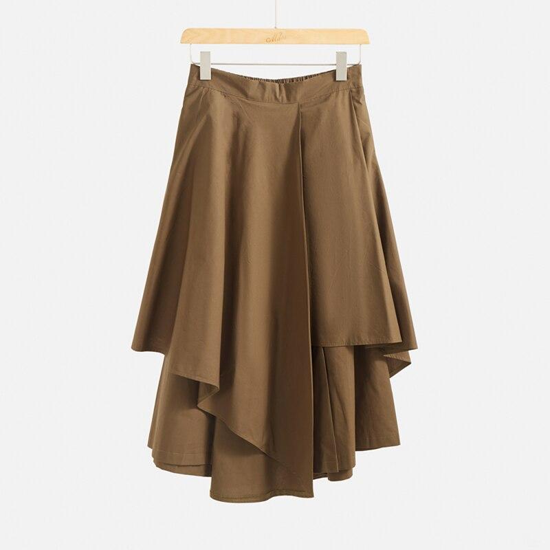 Marwin 2020, Новое поступление, Весенняя однотонная имперская юбка до середины икры, необычный уличный стиль, трапециевидная форма, хлопок, мягка...