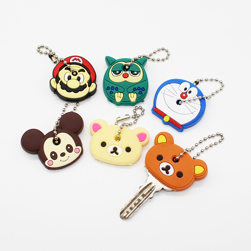 Kawaii Protective Key Case Cover For Key Control Dust Cover Holder Organizer Cartoon Silicone Key Chain Pendant Small Key Holder